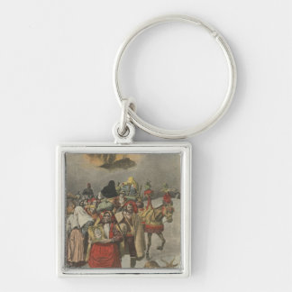 Eruption of Mount Etna Silver-Colored Square Keychain