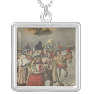 Eruption of Mount Etna Silver Plated Necklace
