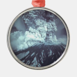 Eruption of Mount Saint Helens Stratovolcano 1980 Round Metal Christmas Ornament