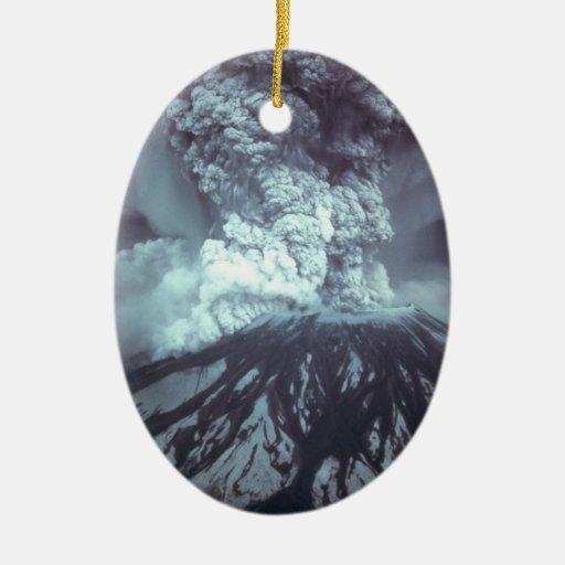 Eruption of Mount Saint Helens Stratovolcano 1980 Christmas Ornaments