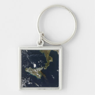 Eruption of Mt Etna in Sicily Silver-Colored Square Keychain