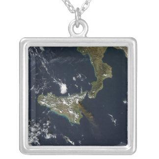 Eruption of Mt Etna in Sicily Square Pendant Necklace