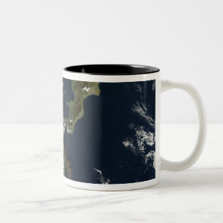 Eruption of Mt Etna in Sicily Two-Tone Coffee Mug