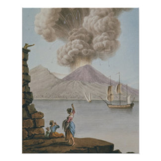 Eruption of Vesuvius, Monday 9th August 1779, plat Poster