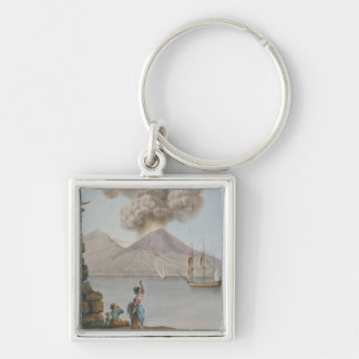 Eruption of Vesuvius, Monday 9th August 1779, plat Silver-Colored Square Keychain
