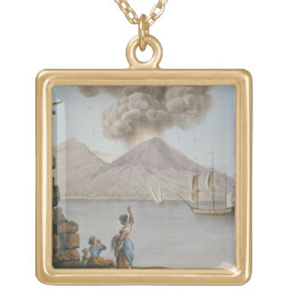 Eruption of Vesuvius, Monday 9th August 1779, plat Square Pendant Necklace