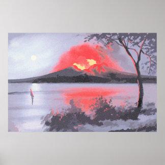 Eruption Vesuvius volcano neo impressionism Poster