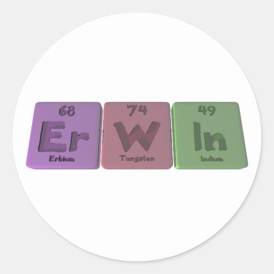 Erwin as Erbium Tungsten Indium Classic Round Sticker