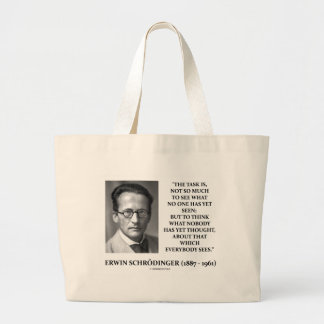 Erwin Schrödinger Task Think Nobody Yet Thought Large Tote Bag