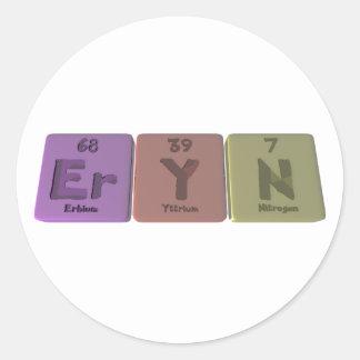 Eryn as Erbium Yttrium Nitrogen Classic Round Sticker