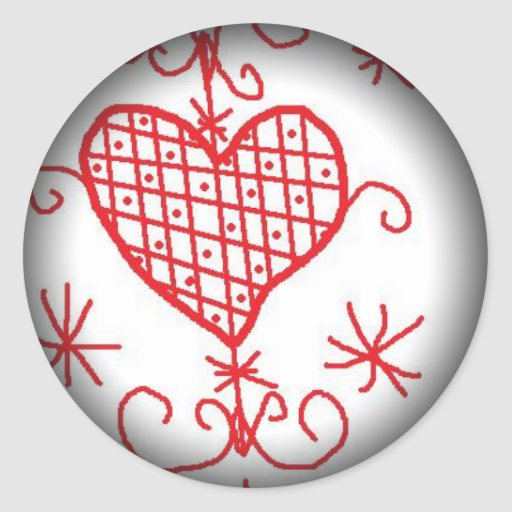 Erzulie Red Heart Veve Voodoo Hoodoo Love Sigil Classic Round Sticker