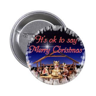 Es aceptable decir el botón de las Felices Navidad Pins