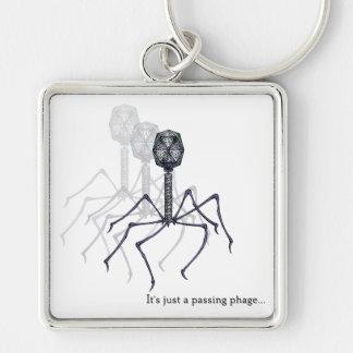 Es apenas un fago de paso… llavero cuadrado plateado