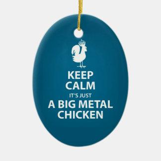Es apenas un ornamento gigante del pollo del metal adorno navideño ovalado de cerámica
