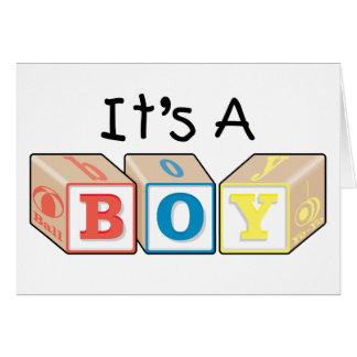 Es bloques de un juguete del muchacho felicitaciones