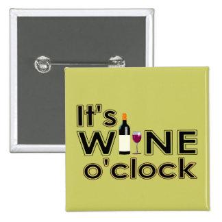 Es botón del en punto del vino pin cuadrado