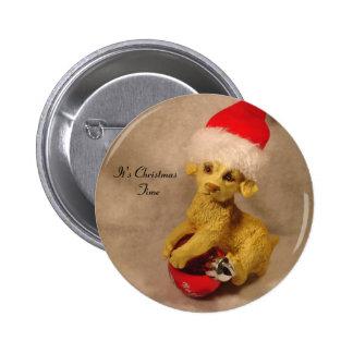 Es botón del tiempo del navidad pin redondo de 2 pulgadas