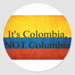 Es Colombia, NO Columbia Pegatina Redonda