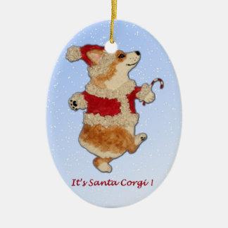 """Es Corgi de Santa!""  Ornamento del Corgi Adorno Navideño Ovalado De Cerámica"