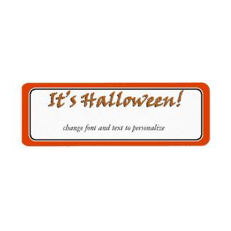 Es diseño del texto de Halloween Viner Etiquetas De Remite