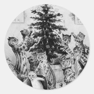 Es el navidad de un gato - pegatinas de Louis Wain Pegatina Redonda