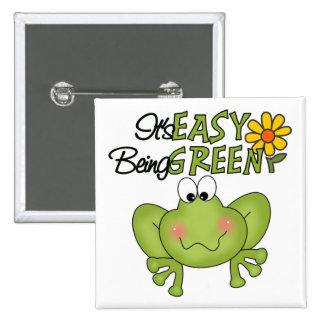 Es el ser fácil botón verde pin cuadrado