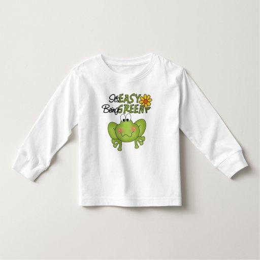Es el ser fácil camiseta verde del niño playeras