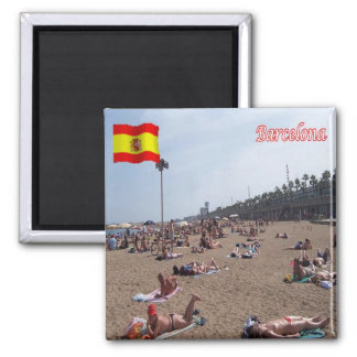 ES - España - Barcelona - la playa Imán Cuadrado