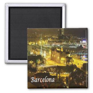 ES - España - Barcelona por noche Imán Cuadrado