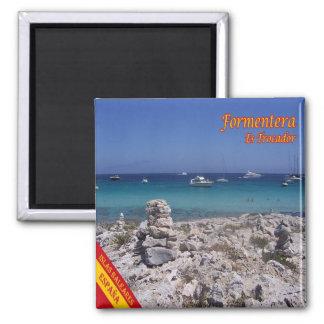ES - España - Formentera - playa de Trocador Imán Cuadrado