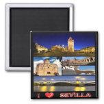 ES - España - Sevilla - amor de I - mosaico del Imán Cuadrado