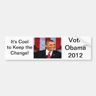 ¡Es fresco guardar el cambio! 15 voto Obama 2012 Pegatina Para Auto