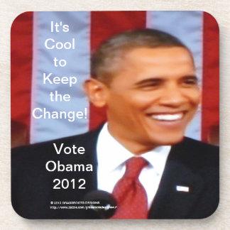 ¡Es fresco guardar el cambio #27! Voto Obama 2012 Posavasos De Bebidas