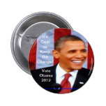¡Es fresco guardar el cambio!  Voto Obama 2012_Wht Pin