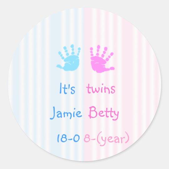 Es gemelos - handprints pegatina redonda