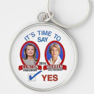 Es hora de decir sí: Hillary y Liz en 2016 Llavero Redondo Plateado