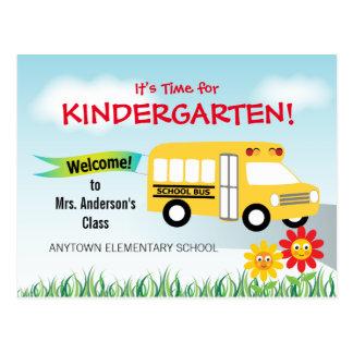 Es hora para la guardería, autobús escolar postales