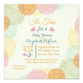 Es invitación floral de la fiesta de bienvenida al invitación 13,3 cm x 13,3cm