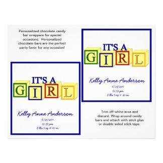 Es las envolturas de un Candybar del chica primar Tarjeta Publicitaria
