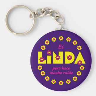 Es Linda, pero Basic Round Button Keychain