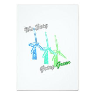 """Es los molinoes de viento tolerantes 2 del verde 3 invitación 5"""" x 7"""""""