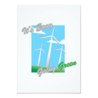 """Es los molinoes de viento verdes tolerantes 2 invitación 5"""" x 7"""""""