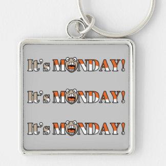 ¡Es lunes! Llavero Cuadrado Plateado
