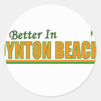 Es mejor en la playa de Boynton Pegatina Redonda