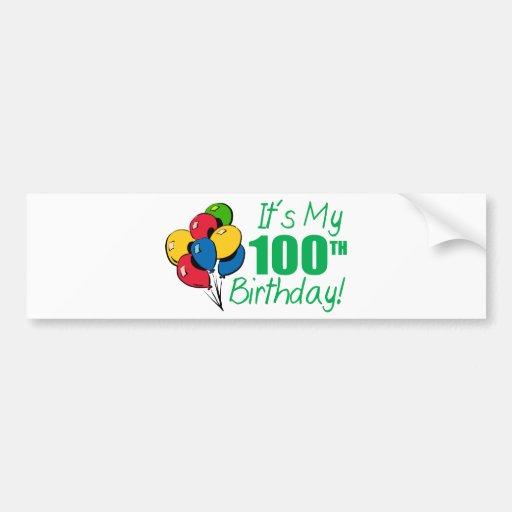 Es mi 100o cumpleaños (los globos) pegatina para auto