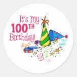 Es mi 100o cumpleaños (los gorras del fiesta) pegatinas redondas