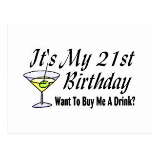 Es mi 21ro cumpleaños tarjetas postales