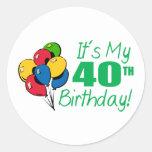 Es mi 40.o cumpleaños (los globos) etiqueta redonda