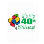 Es mi 40.o cumpleaños (los globos) tarjeta postal