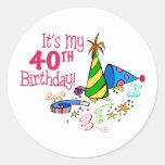 Es mi 40.o cumpleaños (los gorras del fiesta) etiqueta redonda